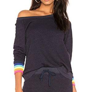 Sundry Sweatshirt with Rainbow Cuffs